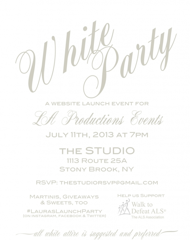 White Party for our New Website Launch – Tonight! » L.A. Productions